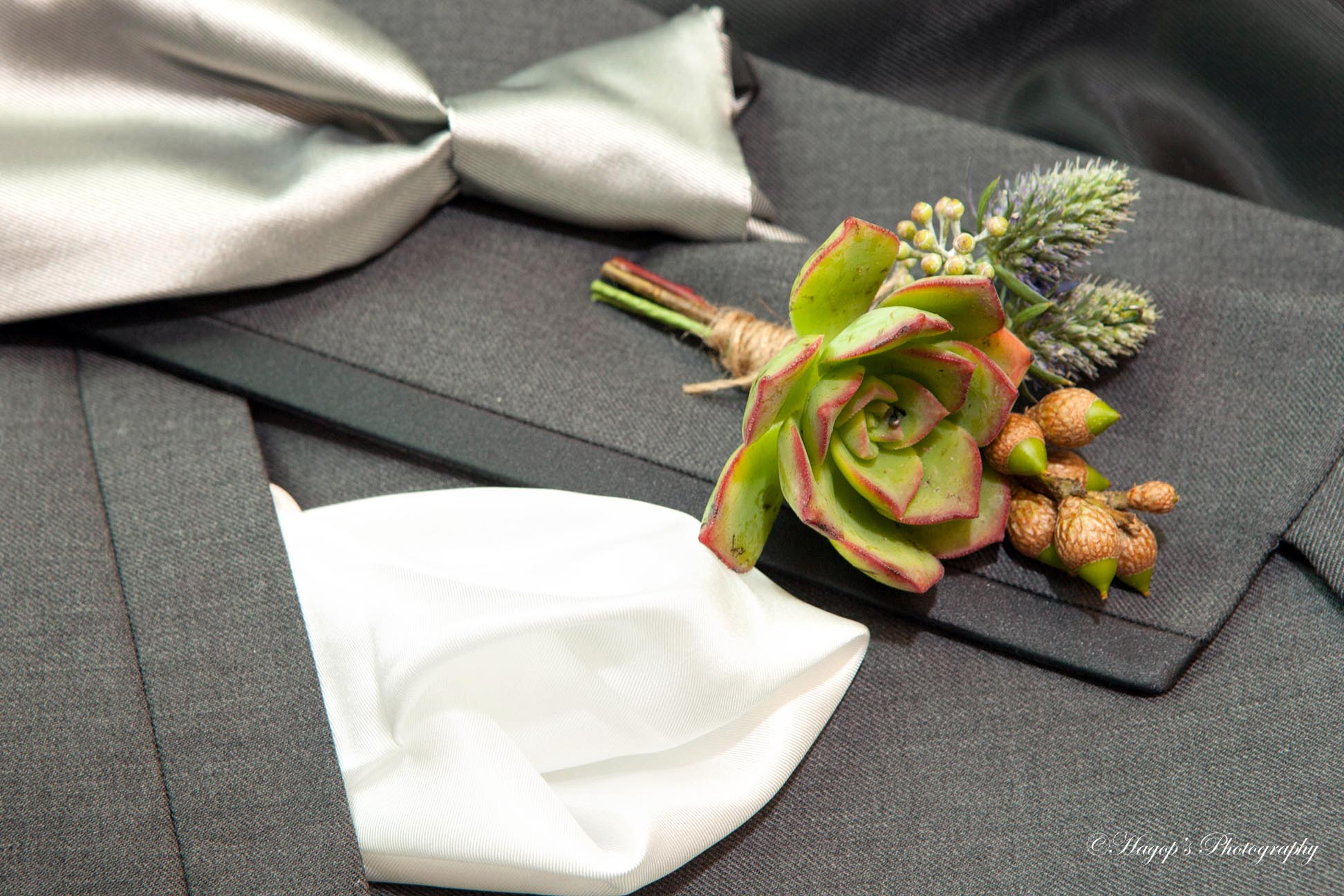 groom boutonniere and tie photo
