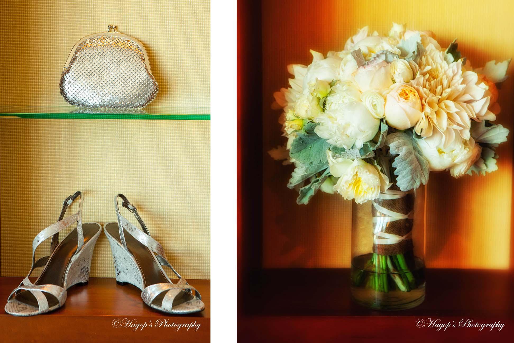 bride bouquet and shoes photo