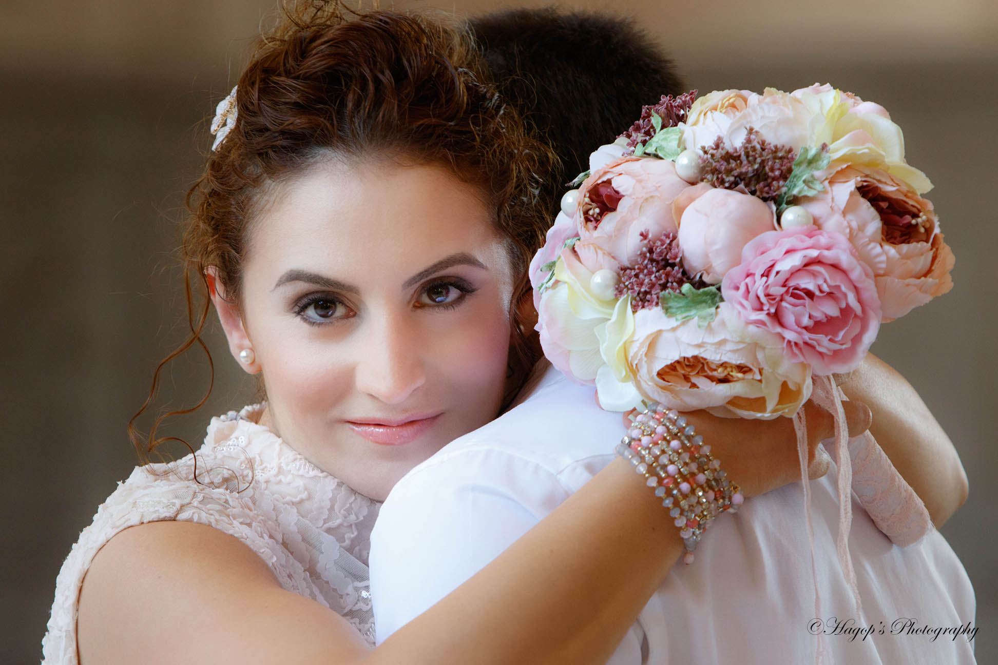 portrait of the bride with her bouquet