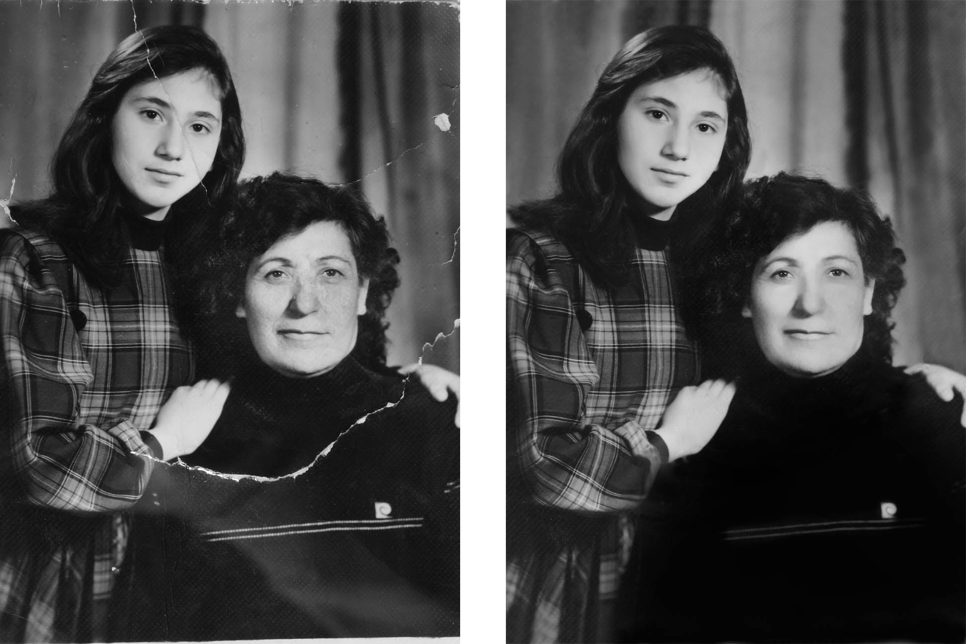 mother daughter old photo restored digitally
