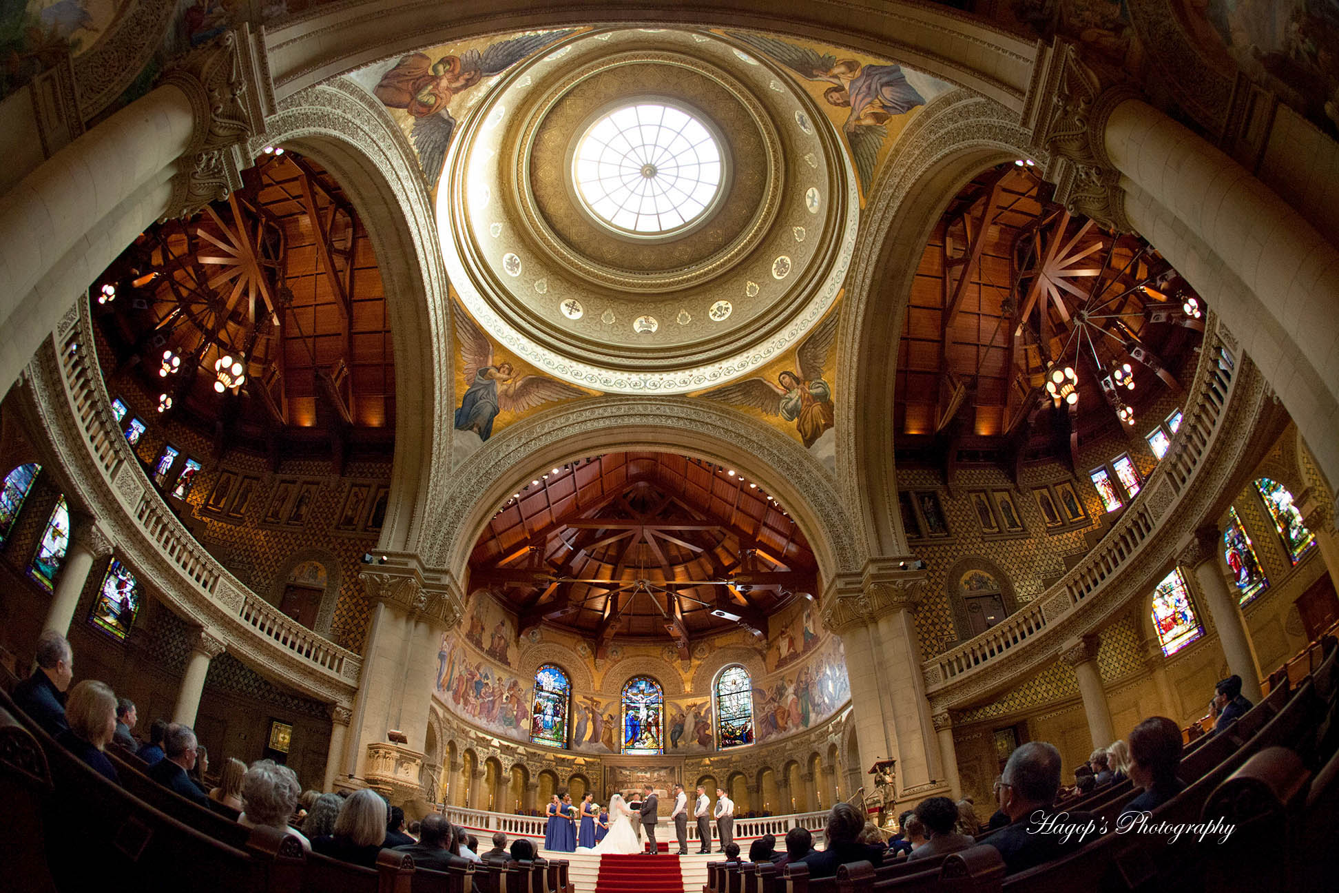 fish eye photo during a wedding ceremony at stanford memorial church