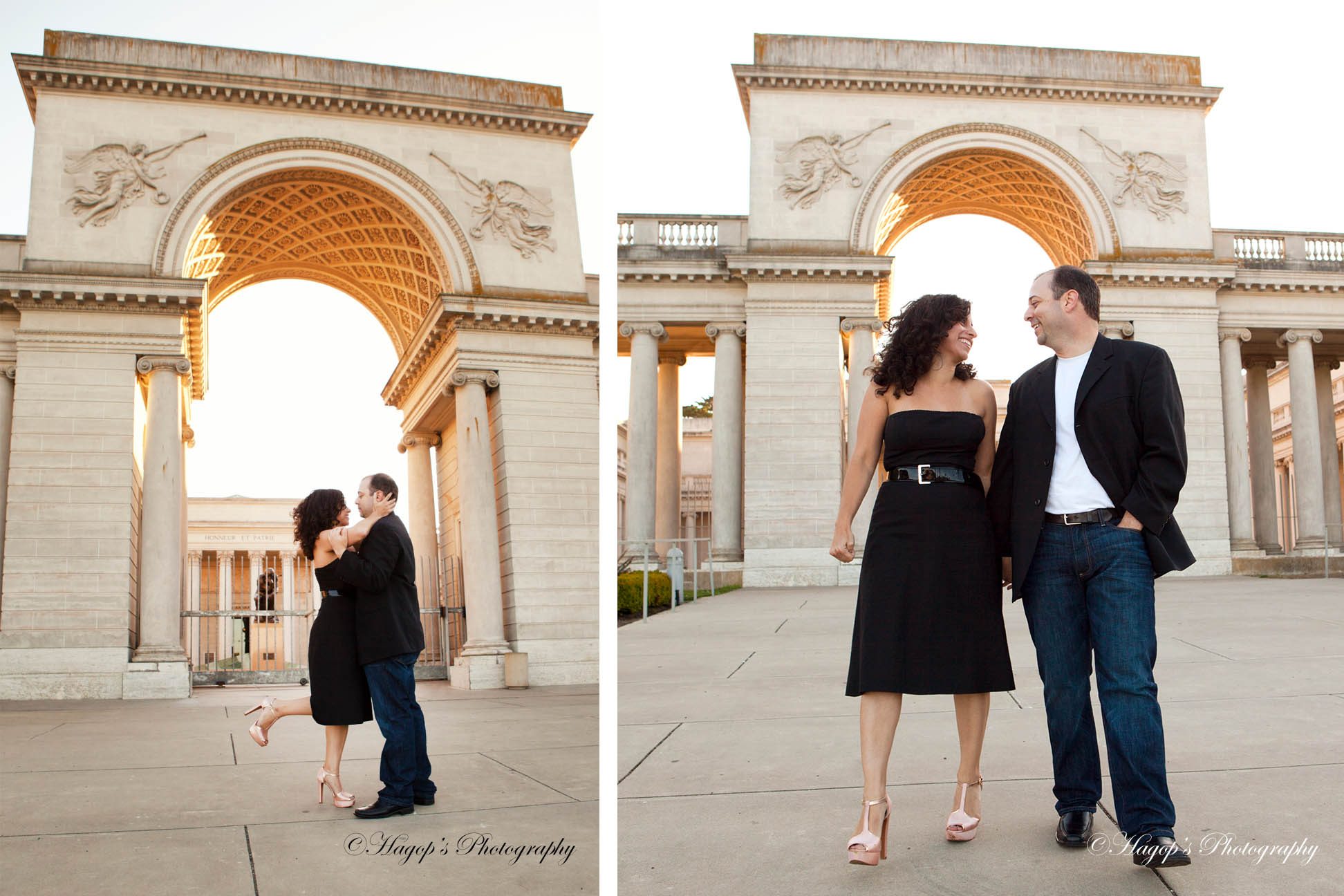 2 photos of an engaged couple at the legion of honor in sf