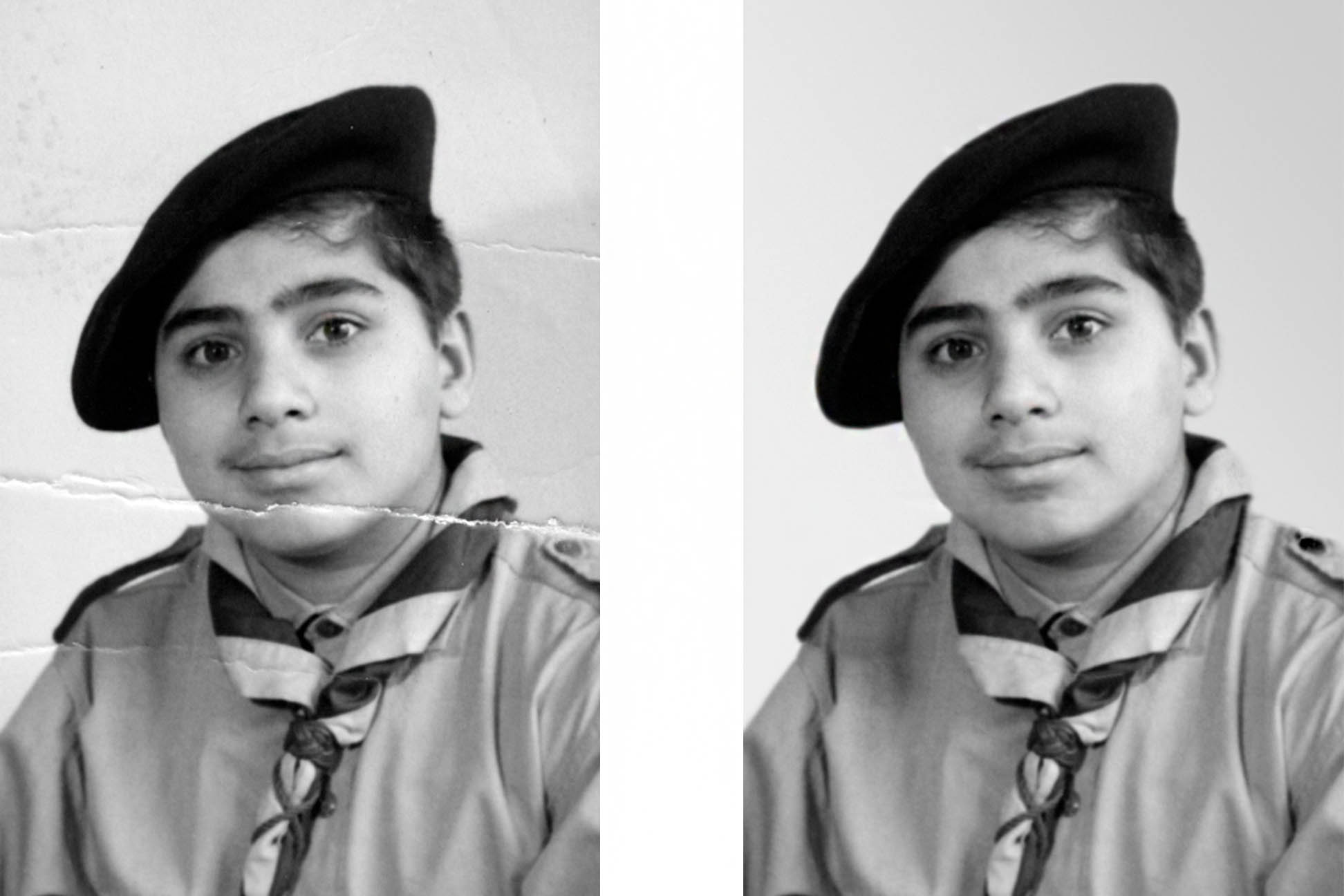 repairing and restoring of this young man's bw photo