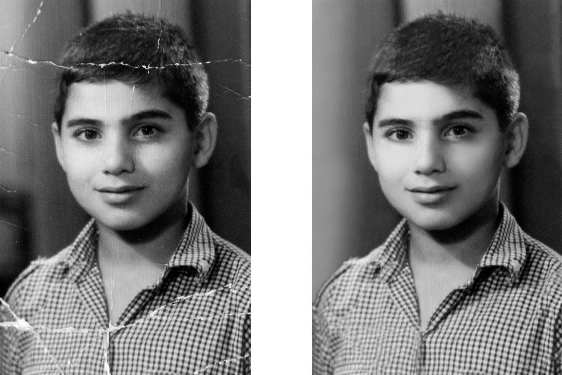restoration of this young man photo by removing the damaged lines