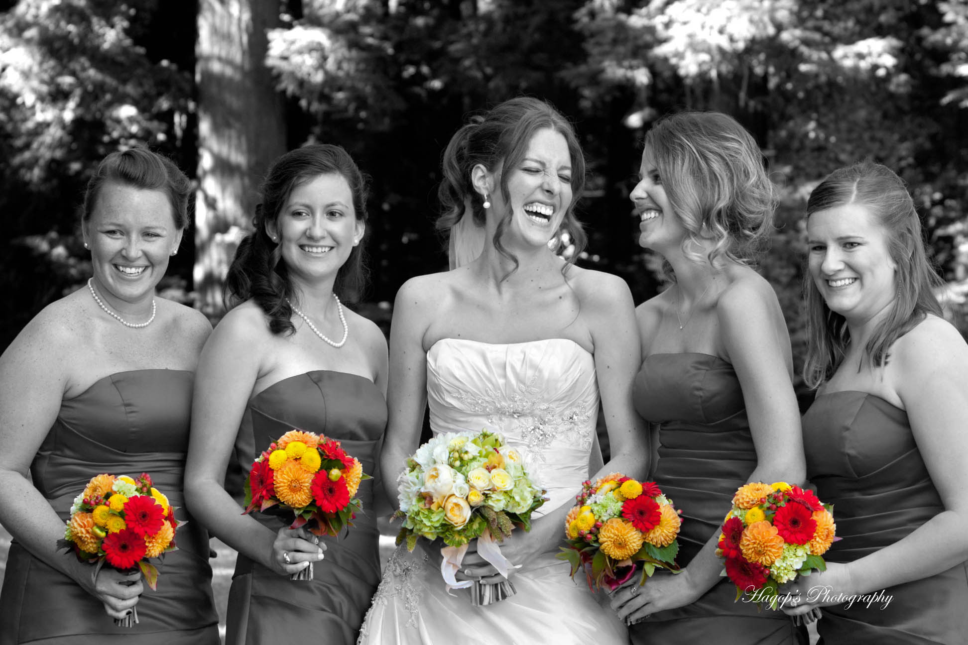 bw and color mix photo of the bride with her bridesmaids