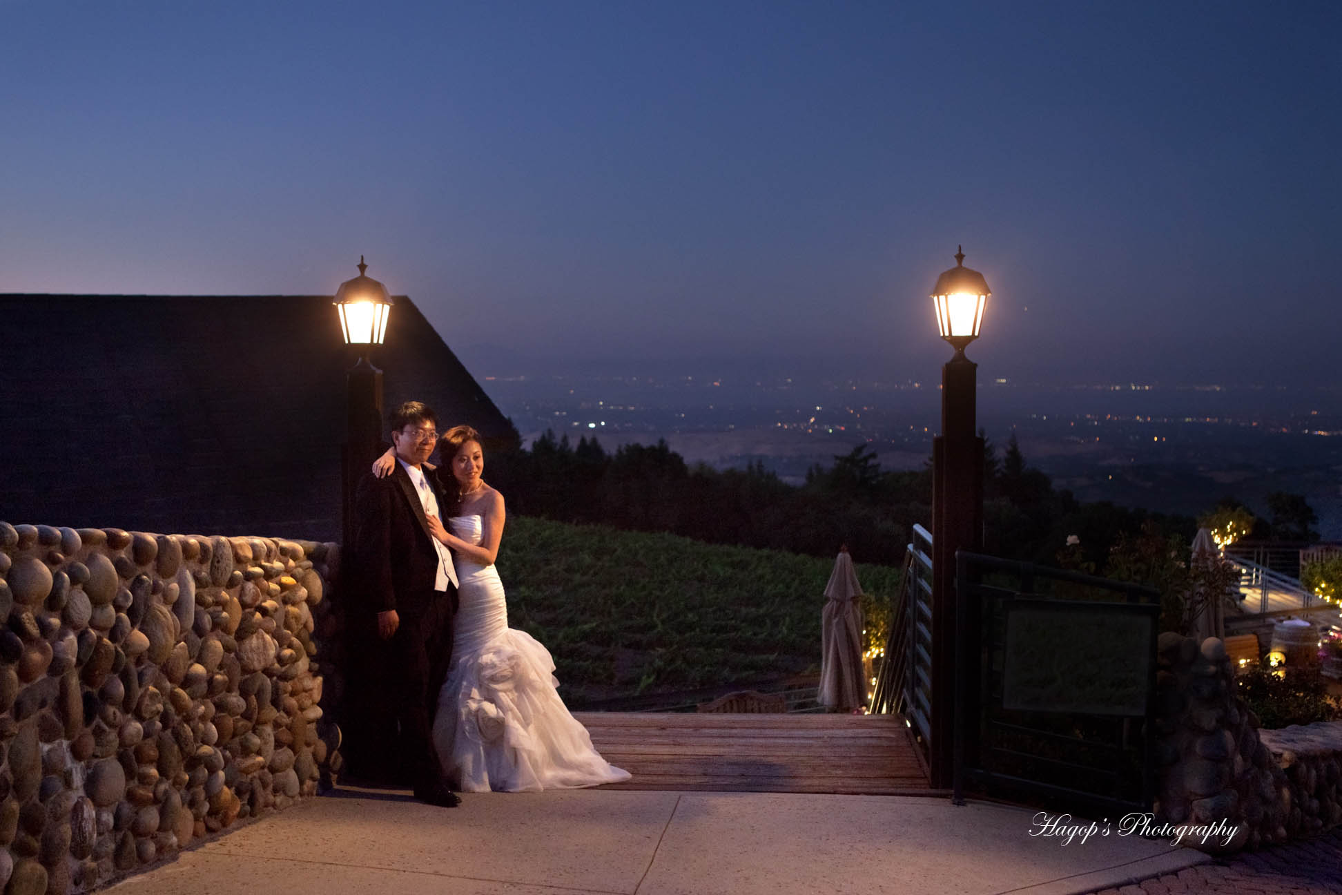 married couple at the fogarty winery available lights photo at night