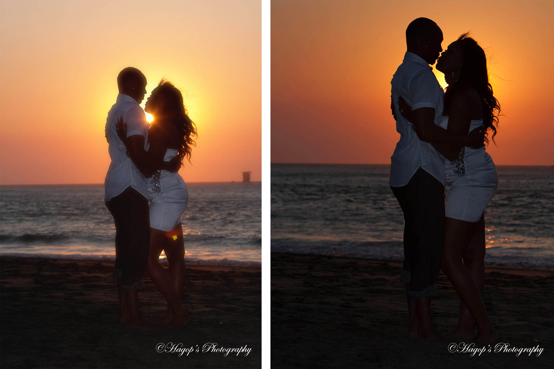 two sunset engagement photos at baker beach in sf
