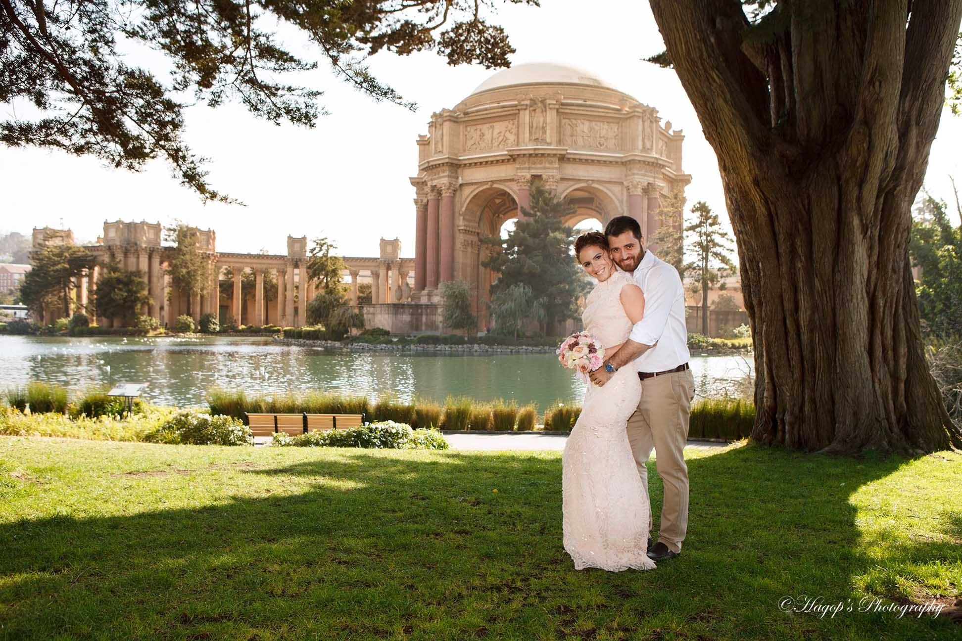bride and groom portrait at the place of fine arts
