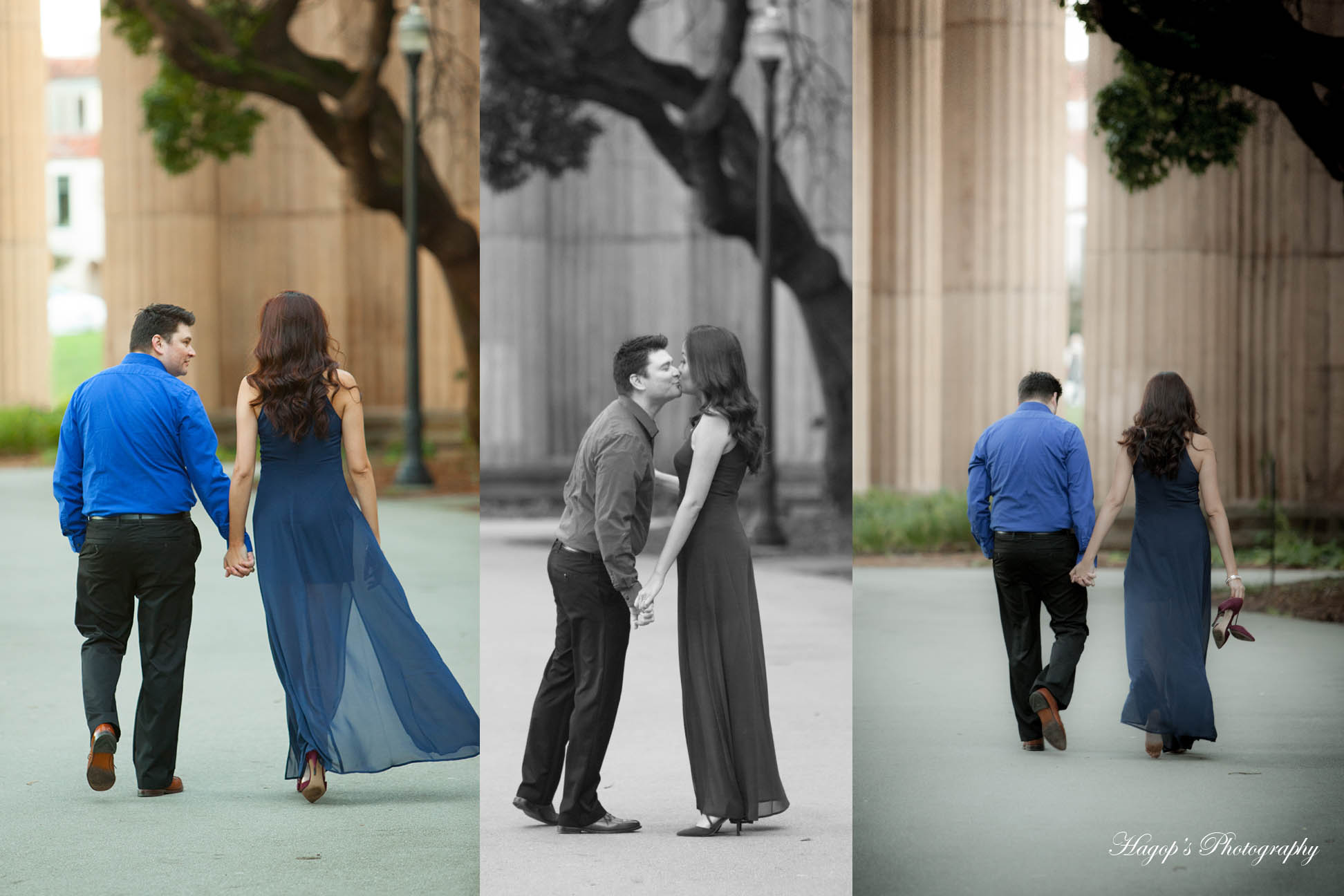 composite engagement photos at the palace of fine arts