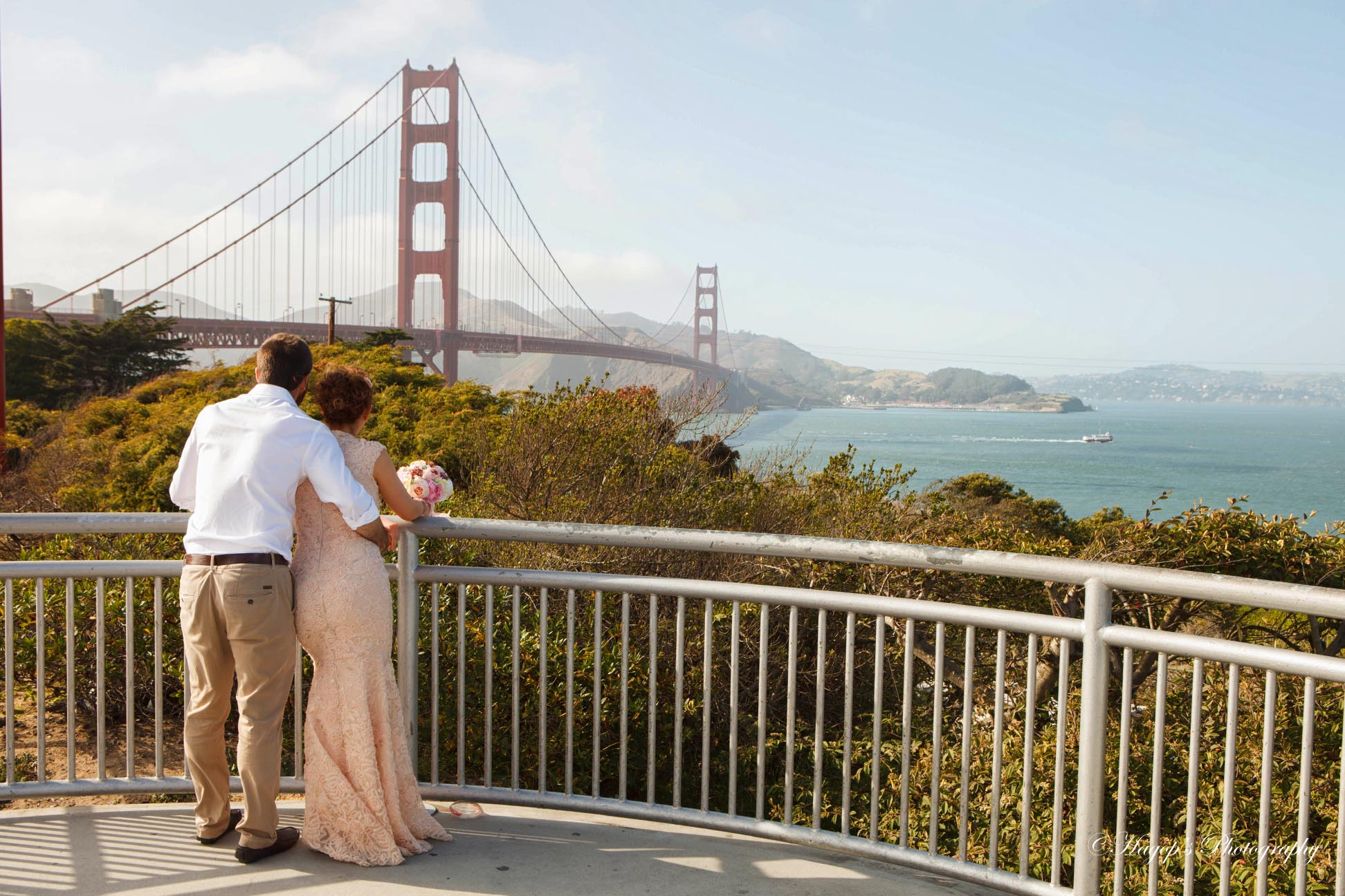 photo of the bride and groom at the golden gate bridge