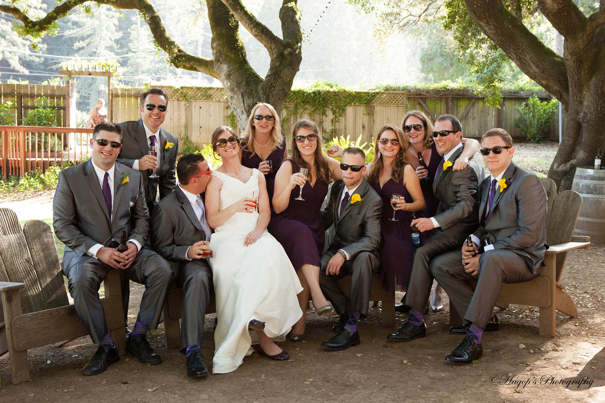 bridal party wearing sunglasses