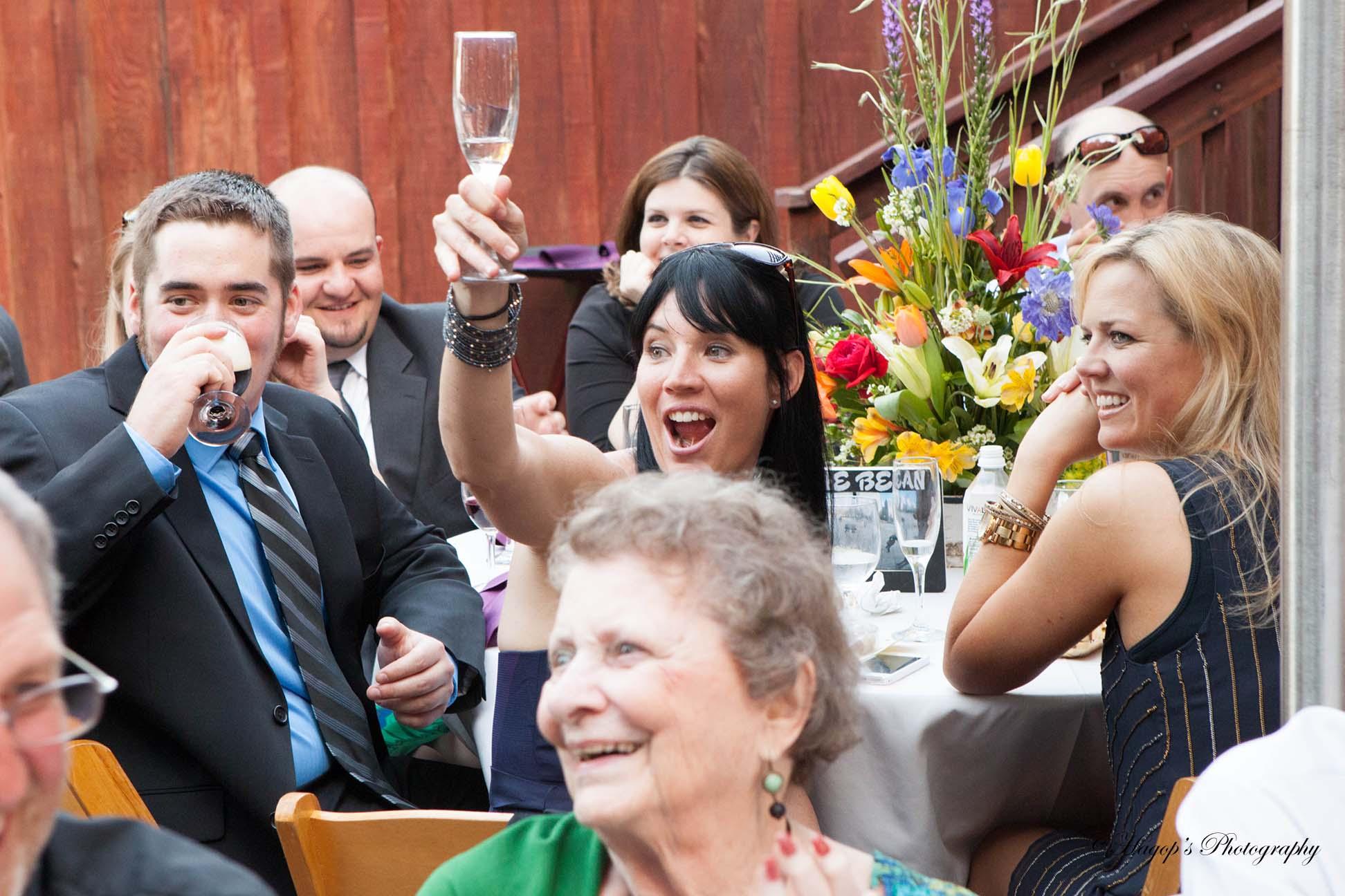 toasting candid photo