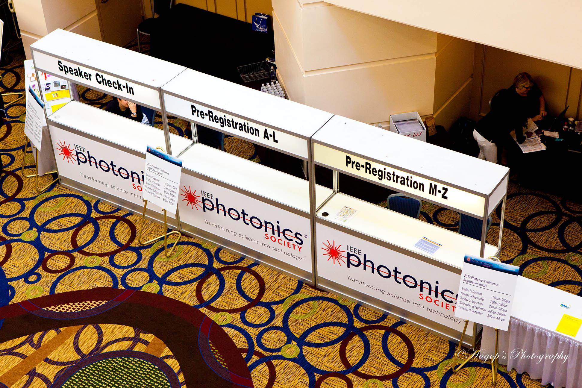 registration desk at the conference