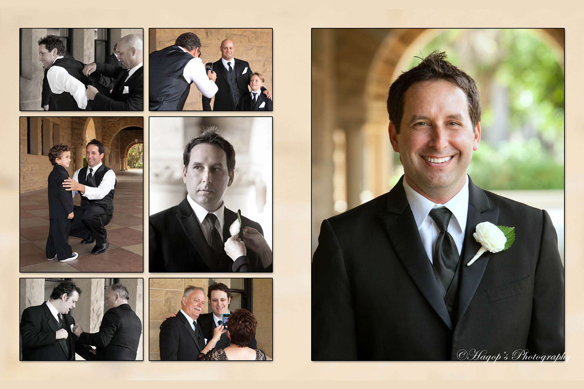 magazine style composite page of the grooms photos