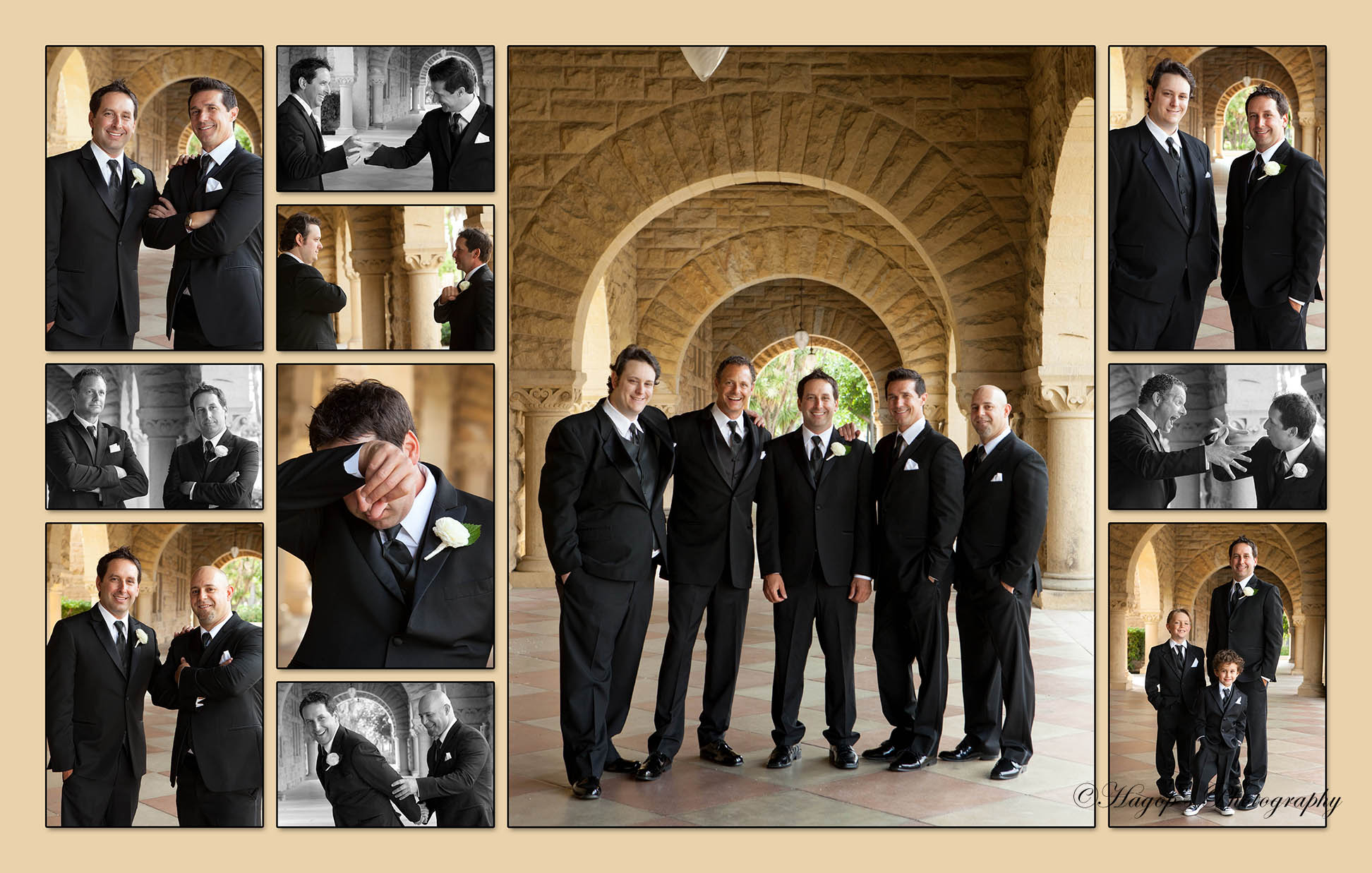 composite magazine style album page of the groom with his groomsmen