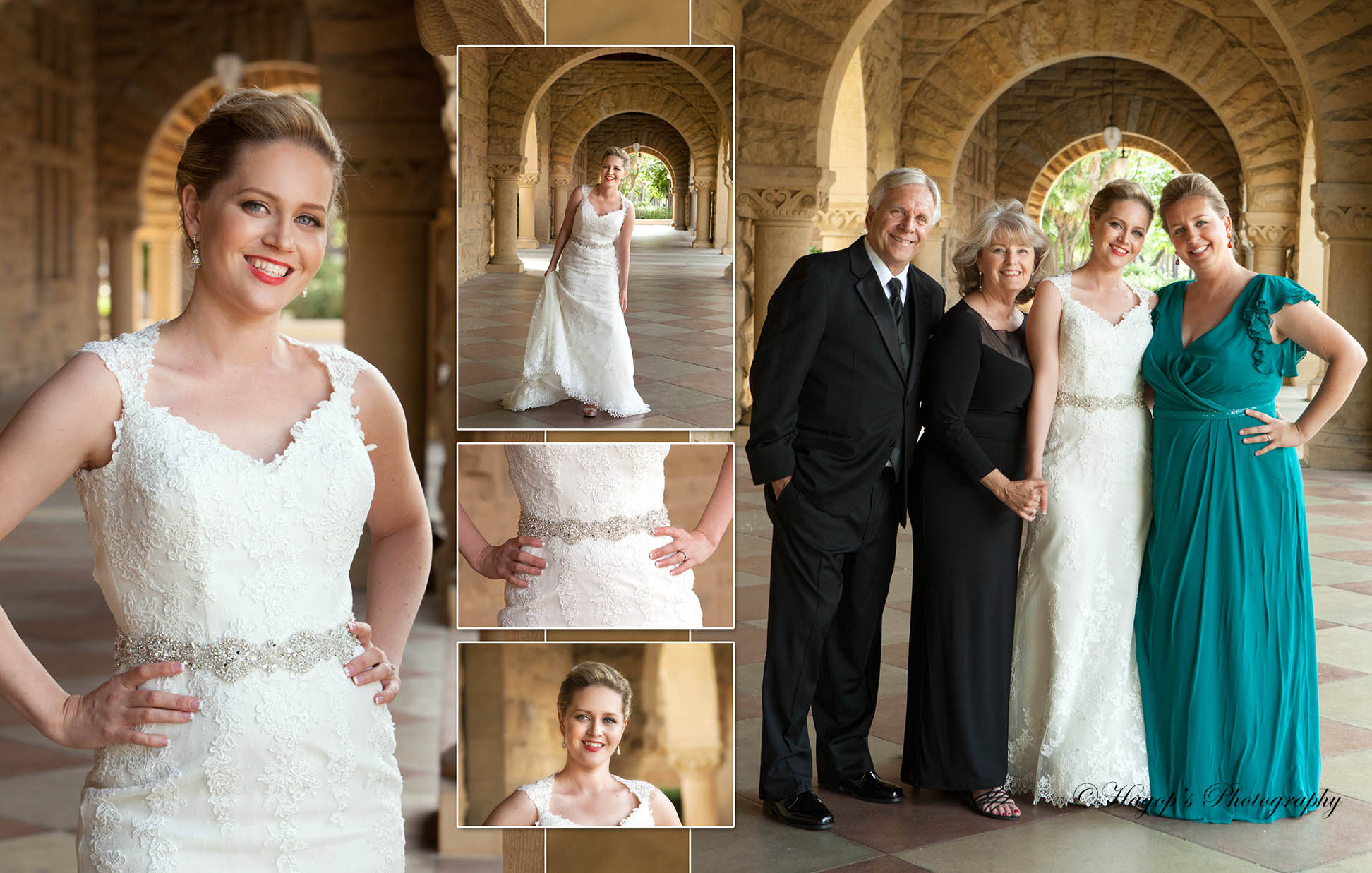 bride with her family composite photo