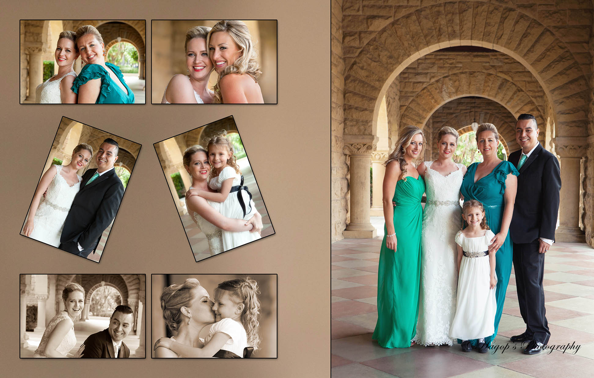 composite photo of the bride with her bridal party