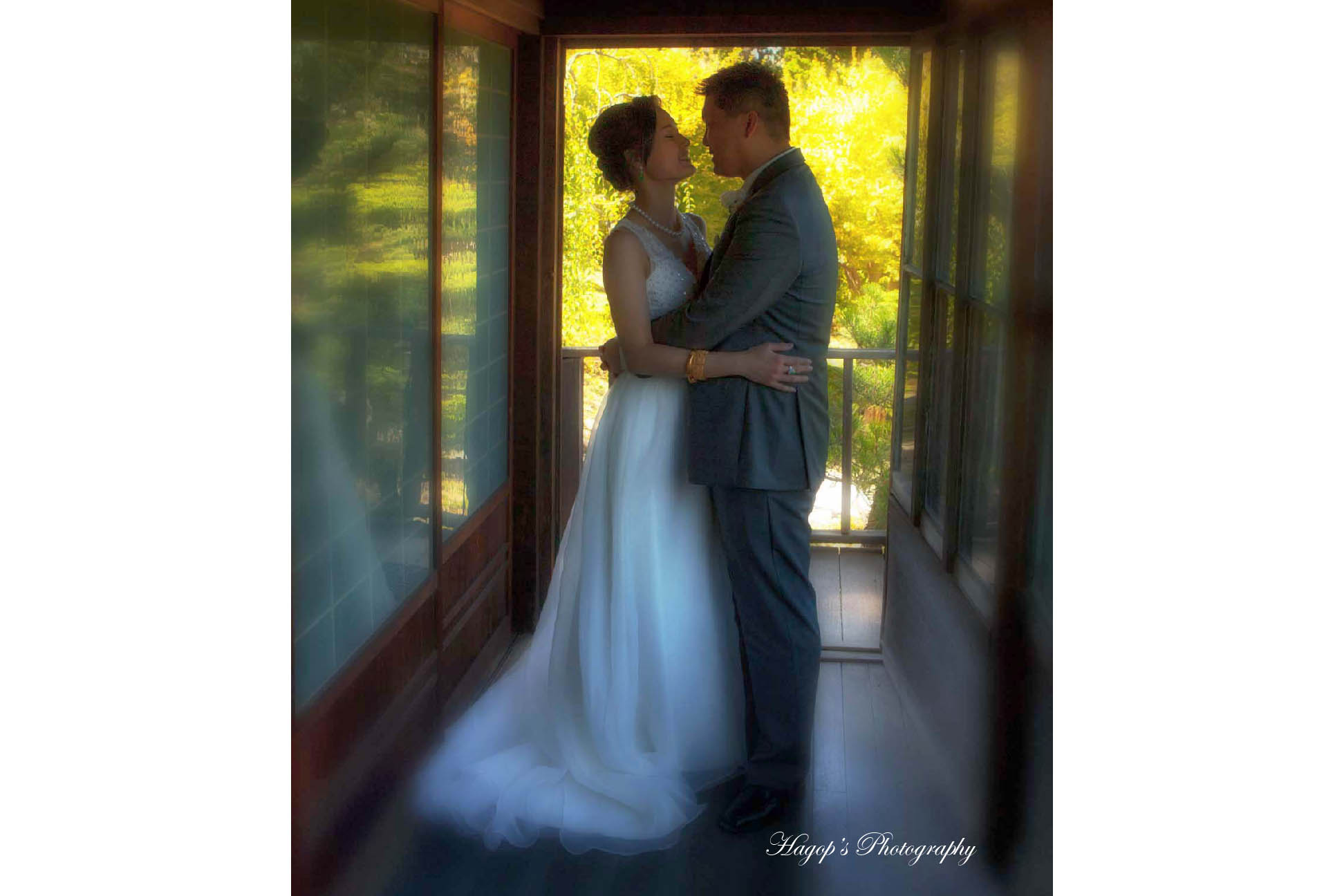 back lit photo of the bride and groom