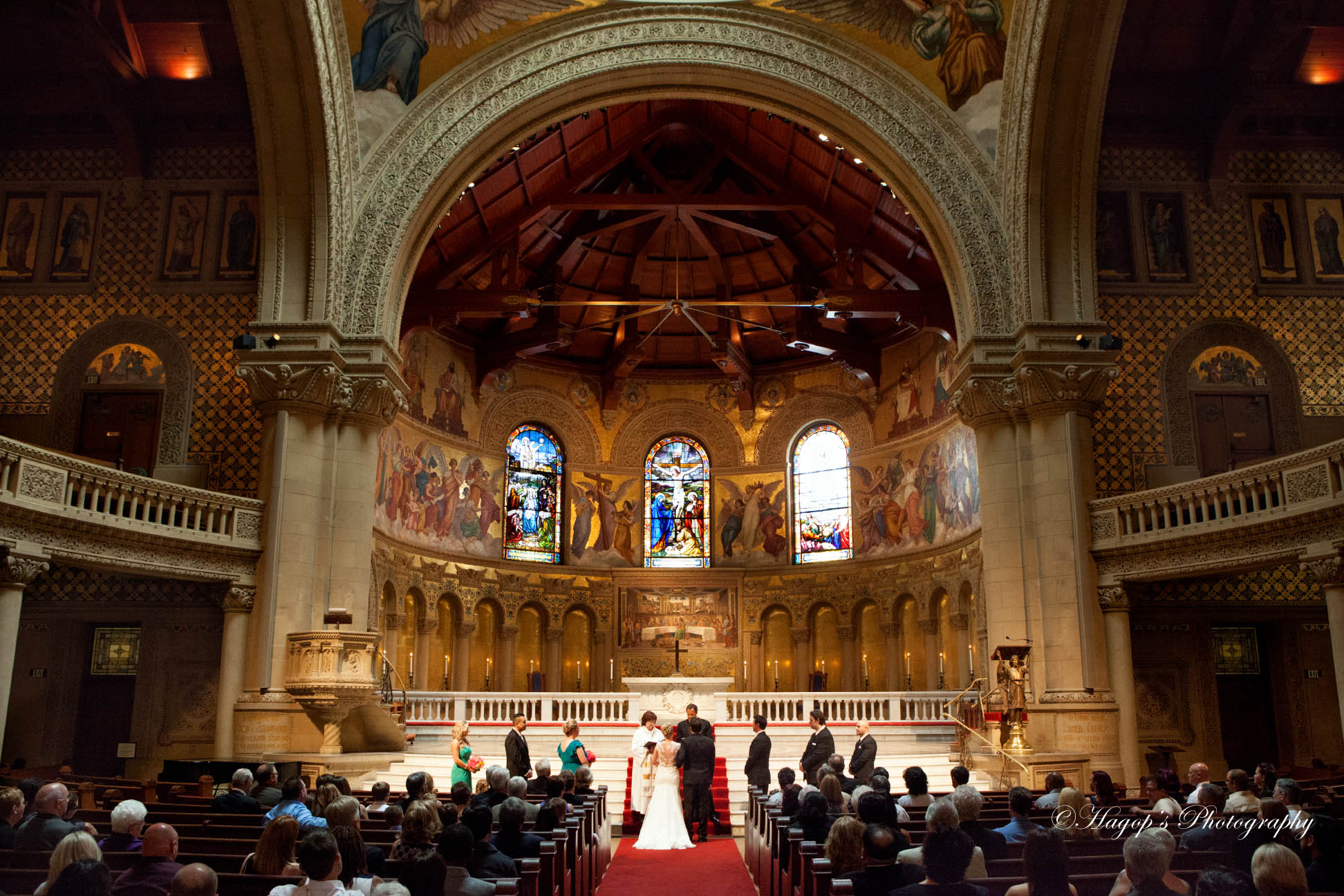 wide angle photo at a stanford church wedding