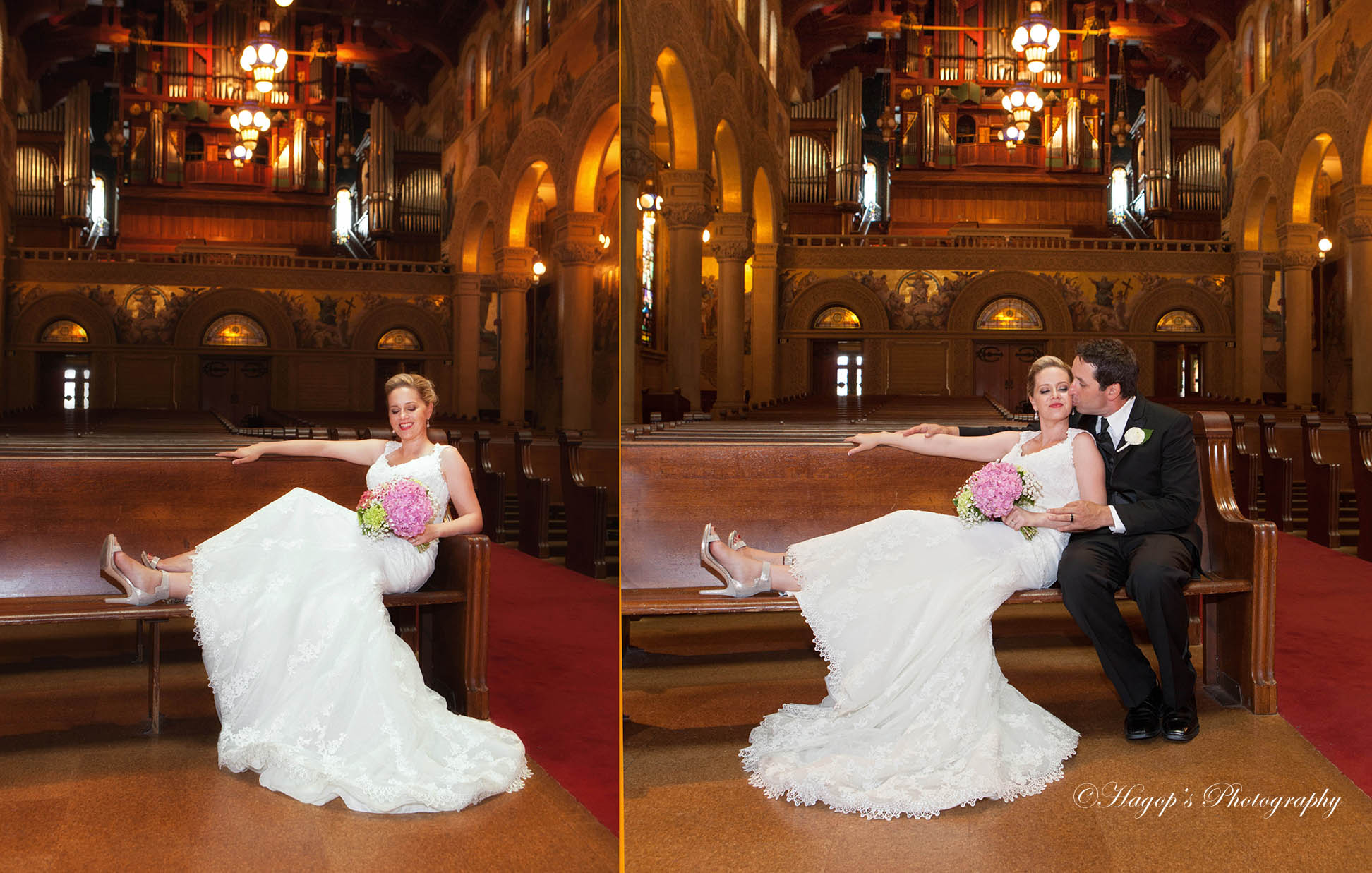 composite photo of the couple inside the memorial church