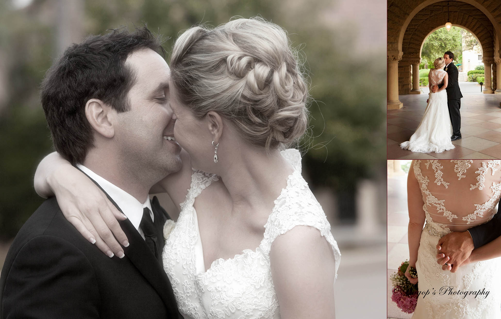 composite page of romantic photos