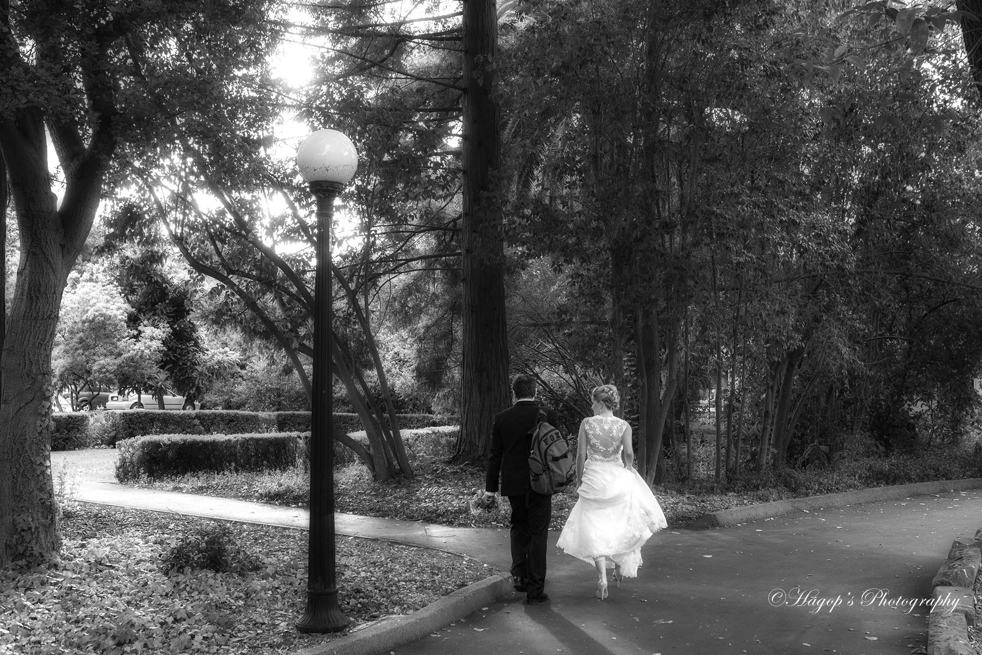 photojournalistic bw wedding photo of the bride and groom taken from their backs