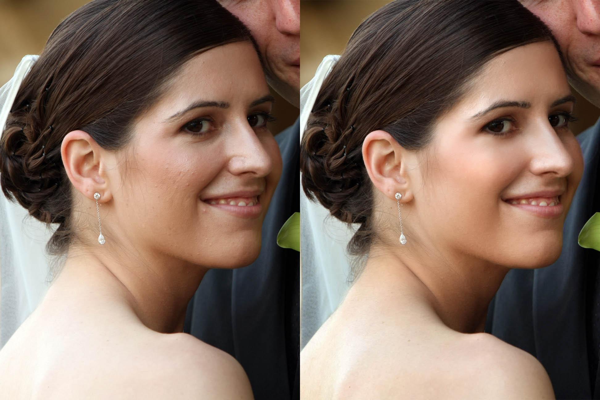 wedding photo of a bride facial retouching