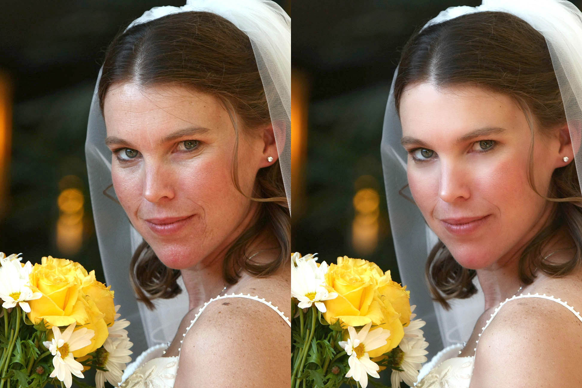 before and after retouching of a bride photo
