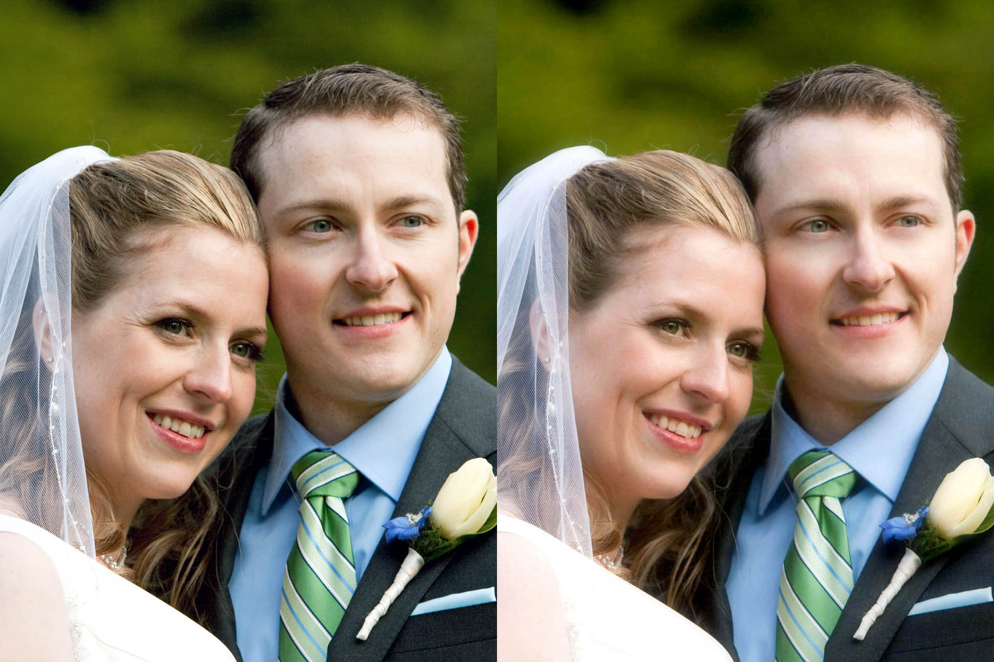 bride and groom retouched photo before and after