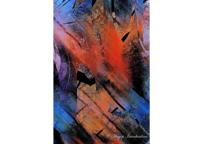 abstract painting with blue red orange colors