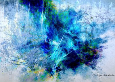 abstract paint of freezing trees