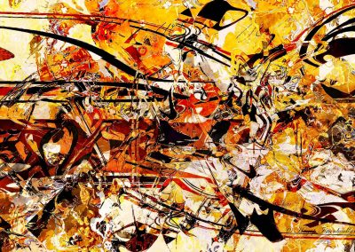 abstract painting titled gold rush