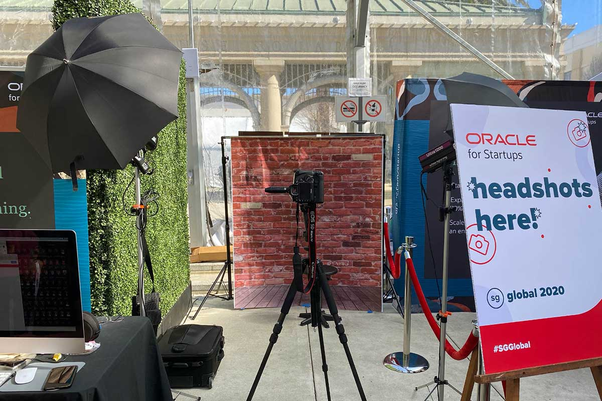 studio setup for headshots at a conference