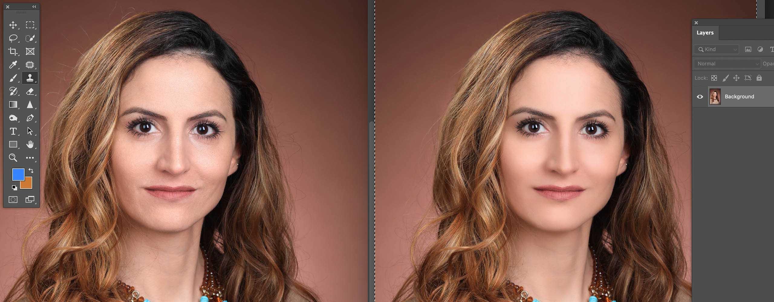 retouching example of a female headshot