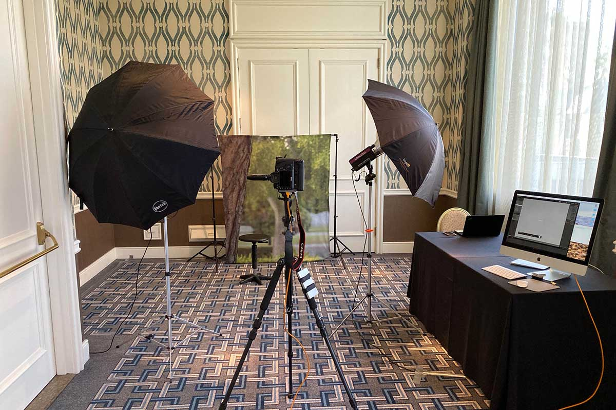 studio set up at a hotel