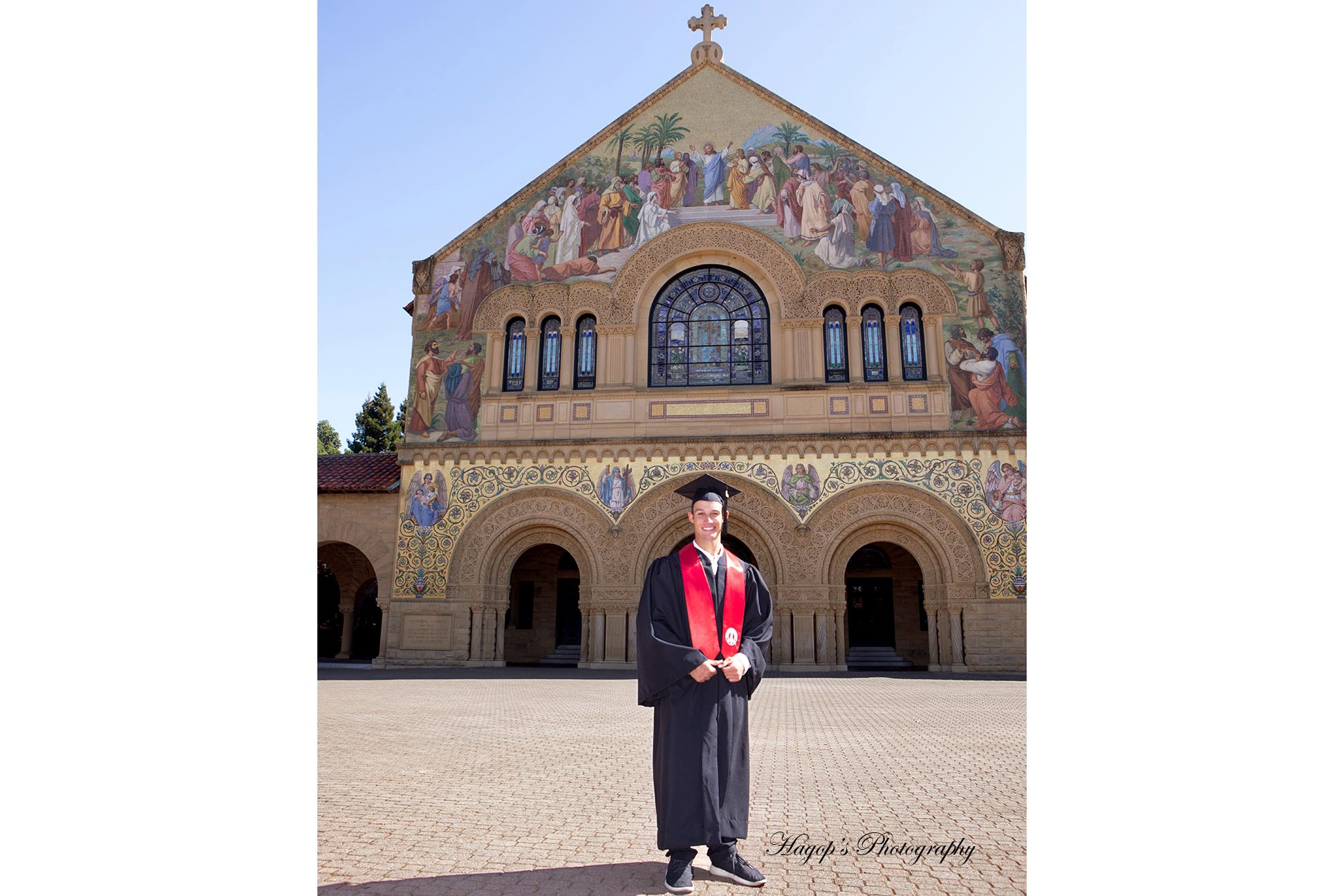 graduation portrait with the memorial church in the background
